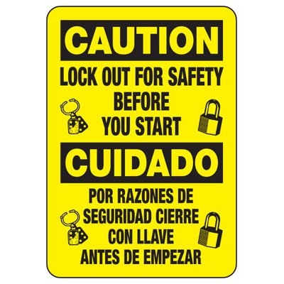 Bilingual Caution Lock-Out For Safety - Lockout Sign