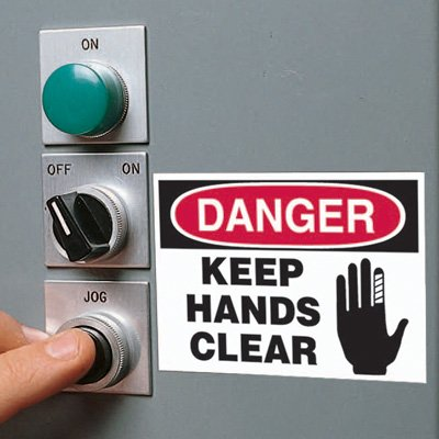 Machine Hazard Warning Labels - Danger Keep Hands Clear