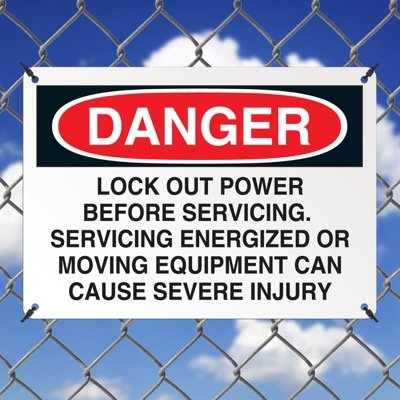 Machine Safety Signs - Lock Out Power Before Servicing