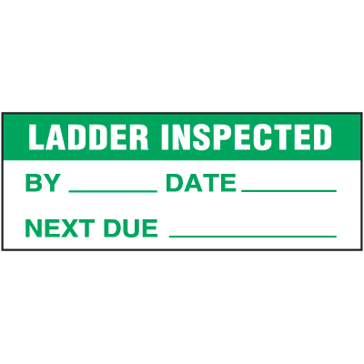 Machine Safety Write-On Labels - Ladder Inspected Date Next Due