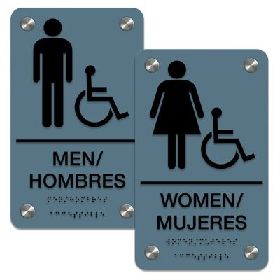 Man/Woman (ADA Accessibility) - Bilingual Braille Restroom Sign Sets