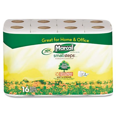 Marcal® Small Steps™ 100% Premium Recycled™ Two-Ply Bathroom Tissue MRC1646616PK
