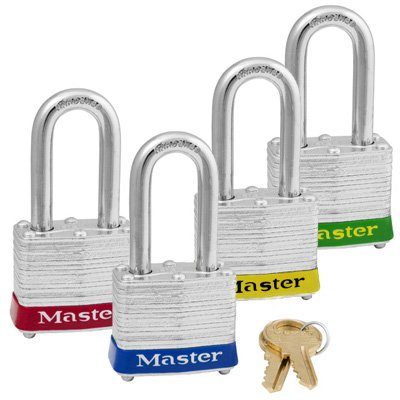 Master Lock® Keyed Alike Padlock Sets With Colored Bumpers