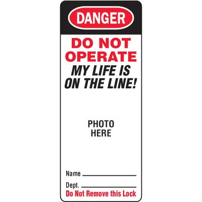 Do Not Operate Padlock Replacement Face Labels