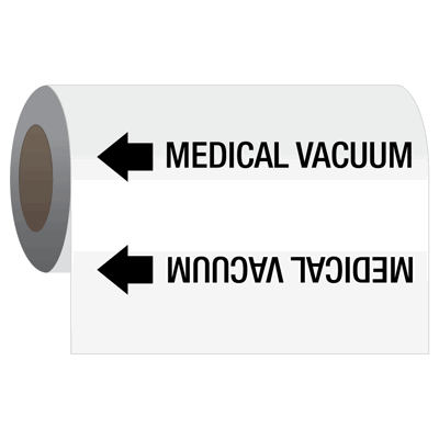 Medical Gas Self-Adhesive Pipe Markers-On-A-Roll - Medical Vacuum