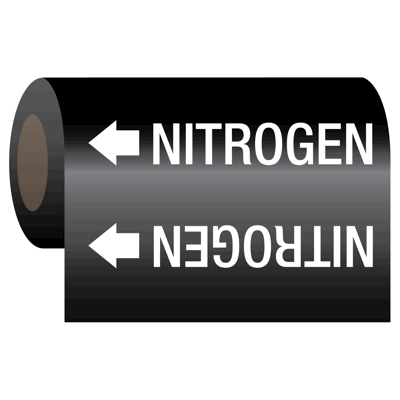 Medical Gas Self-Adhesive Pipe Markers-On-A-Roll - Nitrogen