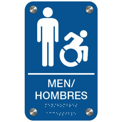 Men Bilingual (Dynamic Accessibility) - Premium ADA Restroom Signs