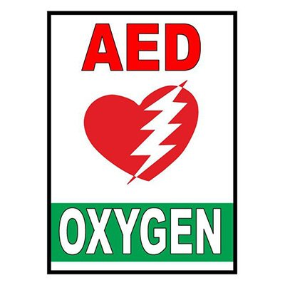 Mighty Line AED Oxygen Floor Marking Sign
