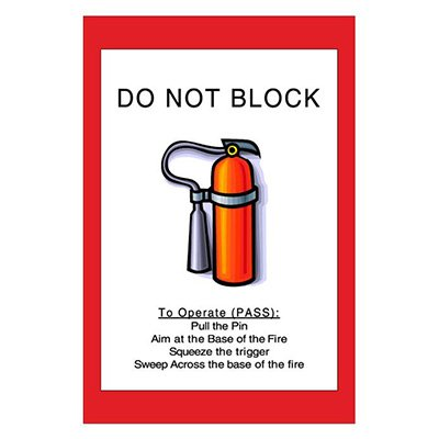 Mighty Line Do Not Block Fire Extinguisher Floor Sign