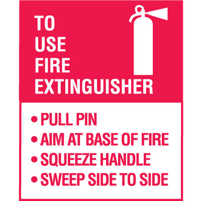 Mini Fire Extinguisher Decals - To Use Fire Extinguisher