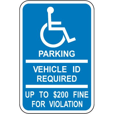 Minnesota State Handicap Signs - Parking Vehicle ID Required