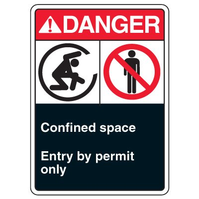 ANSI Multi-Message Safety Signs - Confined Space Entry By Permit Only