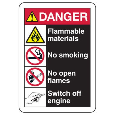 ANSI Multi-Message Signs - Danger Flammable Materials, No Smoking, No Open Flames, Switch Off Engine