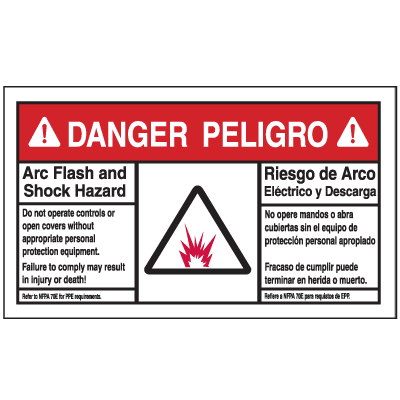 NEC Arc Flash Labels On-A-Roll - Arc Flash And Shock Hazard (Danger/Peligro)