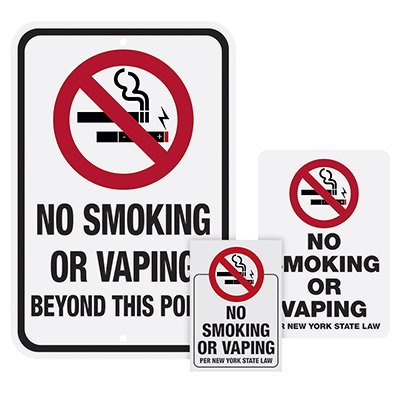 New York State No Vaping Sign Kits Large