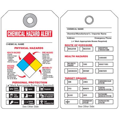 Chemical Hazard Alert - NFPA Tags