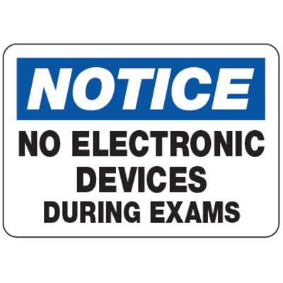 No Electronic Devices During Exams - Classroom Signs
