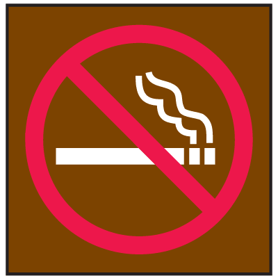 No Smoking Signs - Graphic Only/Brown with Red and White