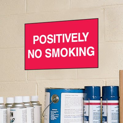 Positively No Smoking Signs - Aluminum, Plastic or Vinyl