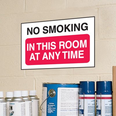 No Smoking In This Room Anytime Signs - Aluminum, Plastic or Vinyl