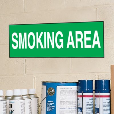 "Smoking Area Signs - 14""W x 4""H Heavy Duty Aluminum"