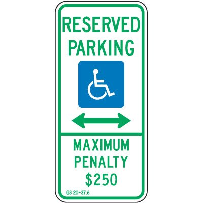 North Carolina State Handicap Signs - Reserved Parking Maximum Penalty
