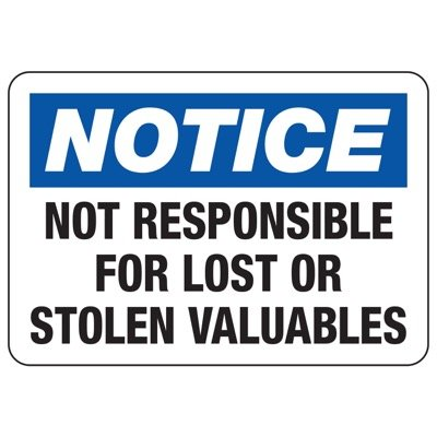 Not Responsible For Lost Or Stolen Valuables - Locker Room Signs