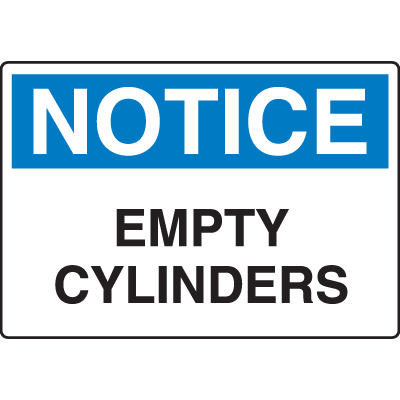 OSHA Notice Signs - Notice Empty Cylinders