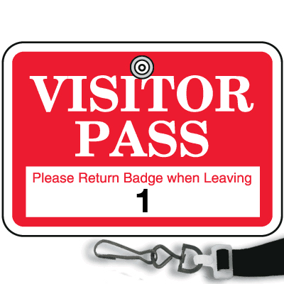Numbered Badge Sets - Visitor Pass - Lanyard