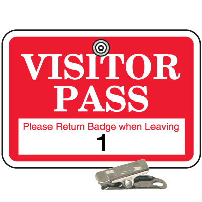 Numbered Badge Sets - Visitor Pass - Clip-On