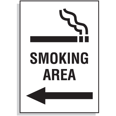 Smoking Area Signs - Arrow Left