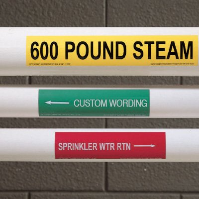 "Custom One-Of-A-Kind Self-Adhesive Pipe Markers - 8"" x 2-1/4"" with 3/4""H Characters"