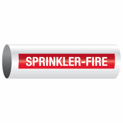 "Opti-Code™ Self-Adhesive Pipe Markers - Sprinkler-Fire - 12: Fits Pipes 2-1/2"" Thru 7-7/8"" Dia."