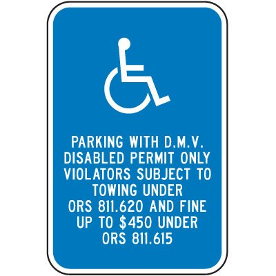 Oregon State Handicap Signs - Parking With DMV Disabled Permit