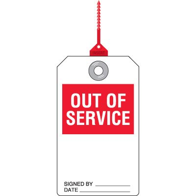 Out of Service - Safety Tag with Self-Locking Seal