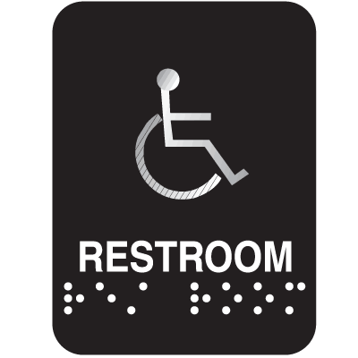 Outdoor Aluminum Braille ADA Signs - Restroom