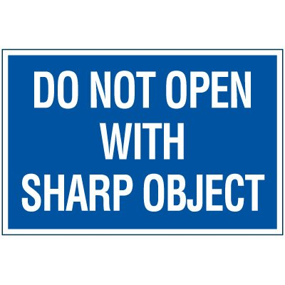 Sharp Object Package Handling Label