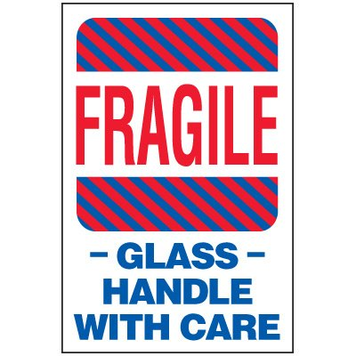 Fragile Glass Package Handling Label