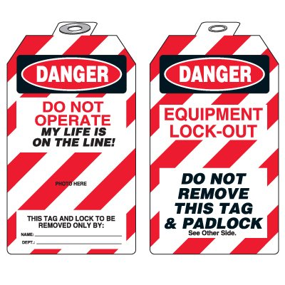 Padlock Tags with Self-Laminating Photo - Danger Do Not Operate
