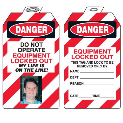 Padlock Tags with Self-Laminating Photo - Danger Do Not Operate Equipment Locked Out