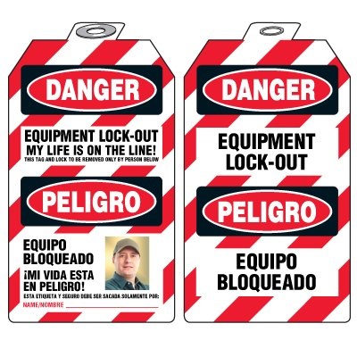 Padlock Tags with Self-Laminating Photo - Danger Equipment Lock-Out Bilingual