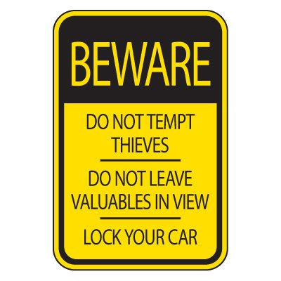 Parking Lot Safety & Security Signs - Beware Lock Your Car
