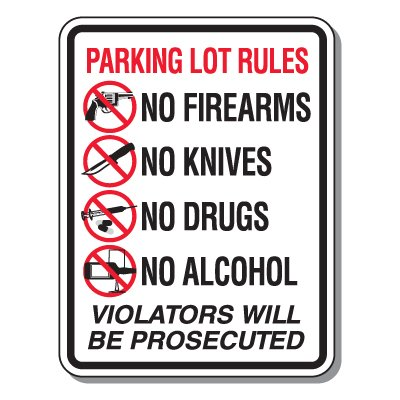 Parking Lot Security & Safety Signs - Parking Lot Rules