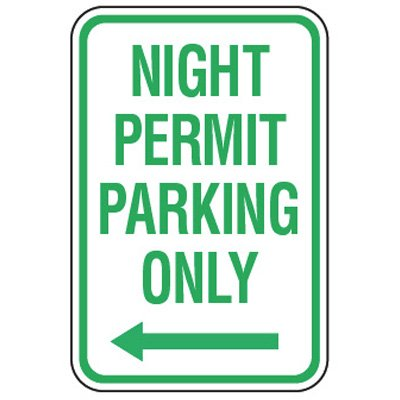 Parking Permit Signs - Night Permit Parking Only (Left Arrow)