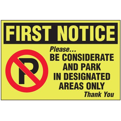 First Notice Parking Violation Warning Labels
