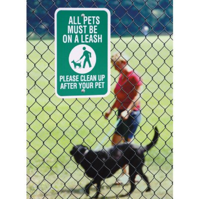 Pet Signs - All Pets Must Be On a Leash Please Clean Up After Your Pet