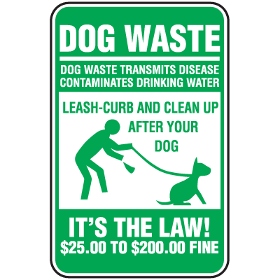 Pet Signs - Dog Waste Transmits Disease