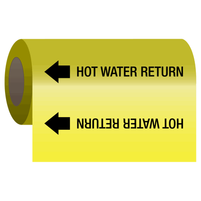 Self-Adhesive Pipe Markers-On-A-Roll - Hot Water Return