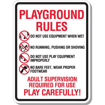 Playground Rules Play Carefully - Playground Signs