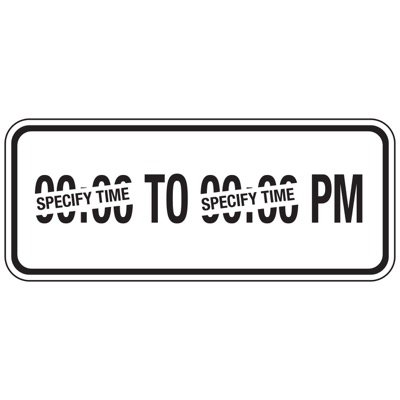PM Parking Hours - Semi-Custom School Parking Signs